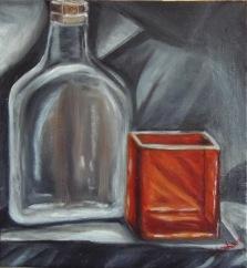 Orange glass decanter